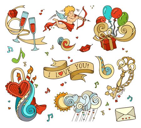 clave sol: Conjunto de s�mbolos de amor aislados en el fondo blanco. Cupido, globos, notas de la m�sica, nubes, sol, llave y la cerradura, cadena, beso, Carta, el lazo, anillo, copa de vino, remolinos.