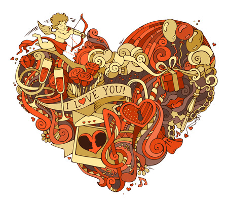 Gold and red heart illustration. Vector hand-drawn doodles poster template. Cupid, ring, roses, sun, clouds and rainbow, swirls and ribbons, balloons and others symbols.