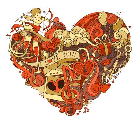 골드와 레드 심장 그림. 벡터 낙서에게 포스터 템플릿을 손으로 그린. 큐피드, 반지, 장미, 태양, 구름, 무지개, 소용돌이와 리본, 풍선 등 기호입니