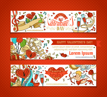 red rose border: Happy Valentines Day! Set of horizontal cartoon love banners. Cupid, hearts, music notes, gift, balloons, ribbon, ring, roses, lock and key, hand-written lettering. Vector web templates.