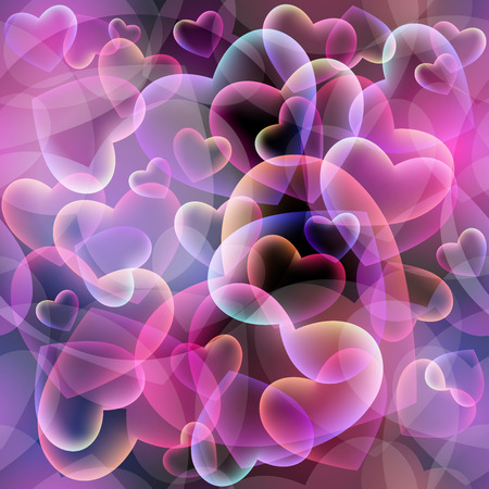 boundless: Seamless Valentines pattern. Colourful hearts on dark background. Boundless background can be used for web page backgrounds, wallpapers, congratulations and invitations. Illustration