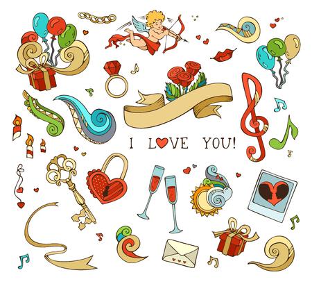 llave de sol: Conjunto de amor doodles iconos aislados sobre fondo blanco. Cupido, globos, notas musicales, las nubes, arco iris, sol, llave y la cerradura, cadena, beso, Carta, el lazo, anillo, una copa de vino, rosas, velas, remolinos. Vectores