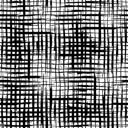 Vector seamless pattern of checkered brush strokes. Vector hand-drawn brush flourishes on white background. Boundless background can be used for web page backgrounds, wallpapers and invitations.