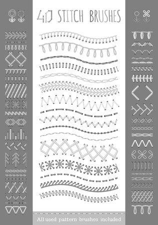 40 seamless white stitch brushes. Vector set of sewing seams, borders, page decorations and dividers. All used pattern brushes included.
