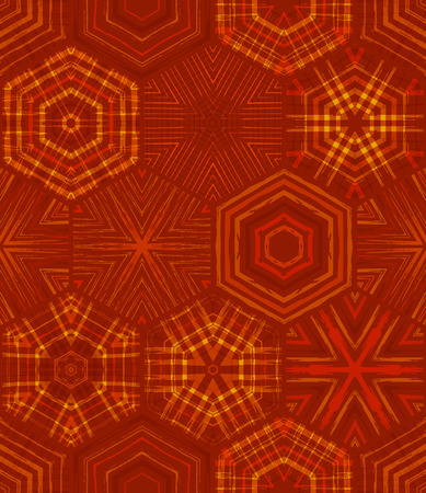 Seamless red ethnic textile pattern. Vector embroidery hexagons background. Boundless background can be used for web page backgrounds, wallpapers and invitations.