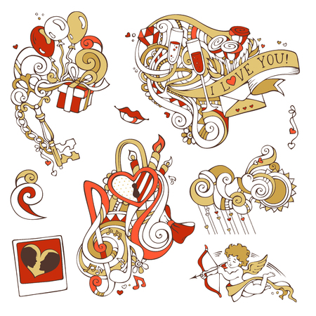 couple in rain: Vector set of romantic design elements isolated on white background. Gold and red. Cupid, balloons, gift, music notes, clouds, sun, key and lock, chain, kiss, ribbon, ring, glass of wine, swirls. Illustration