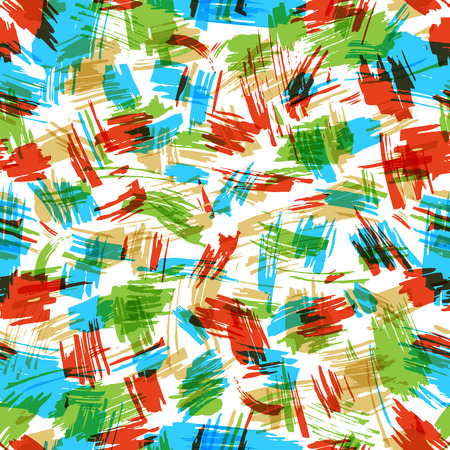 boundless: Vector seamless pattern of colourful flourishes. Hand-drawn red, green and blue brush strokes. Boundless background can be used for web page backgrounds, wallpapers, wrapping papers and invitations. Illustration