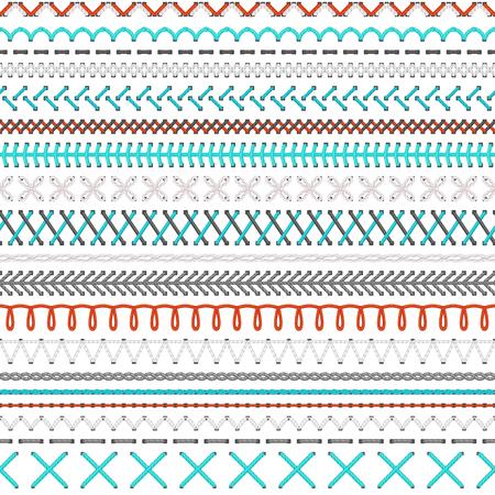 Nahtlose Stickmuster. Vector hoch detaillierte weiß, rot und blau Stiche auf weißem Hintergrund. Boundless Textur.