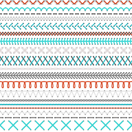sew: Seamless embroidery pattern. Vector high detailed white, red and blue stitches on white background. Boundless texture.