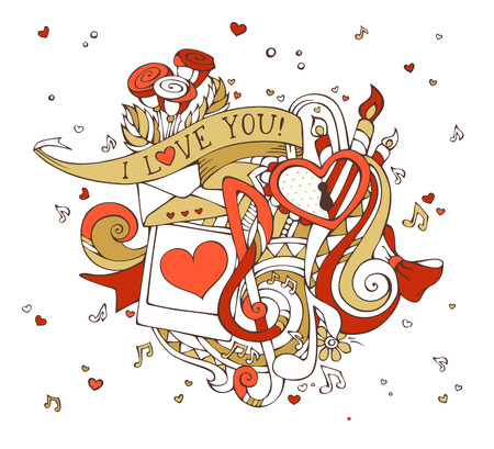 gold woman: Vector I Love You doodles illustration. Gold and red. Music notes, hearts, lock, letter, ribbon, ring, roses, candles, swirls, photo with man and woman silhouettes.