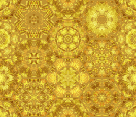 boundless: Seamless luminous gold pattern. Vector bright hexagons background. Boundless background can be used for web page backgrounds, wallpapers and invitations.