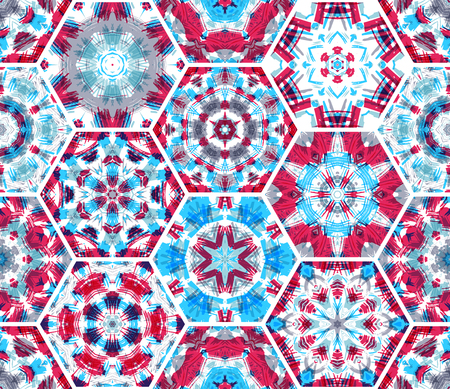 tile pattern: Seamless pink and blue textile pattern. Vector bright ethnic hexagons background. Boundless background can be used for web page backgrounds, wallpapers and invitations.
