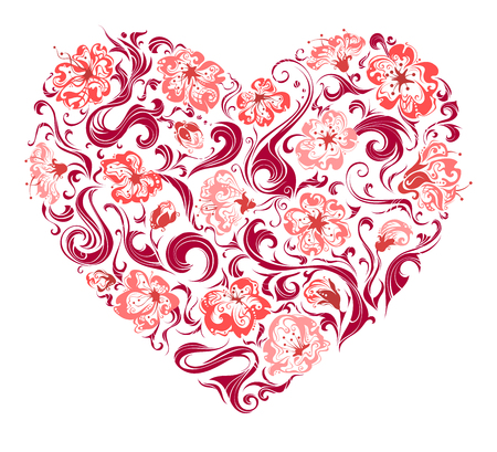 ornate swirls: Floral heart. Heart of ornate flowers and swirls isolated on white background. For your Valentines or wedding design. Illustration
