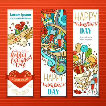 gift ribbon: Set of Valentines banners. Cupid, hearts, music notes, gift, balloons, ribbon, ring, roses, hand-written lettering. Vector vertical romantic banners. There is place for your text.