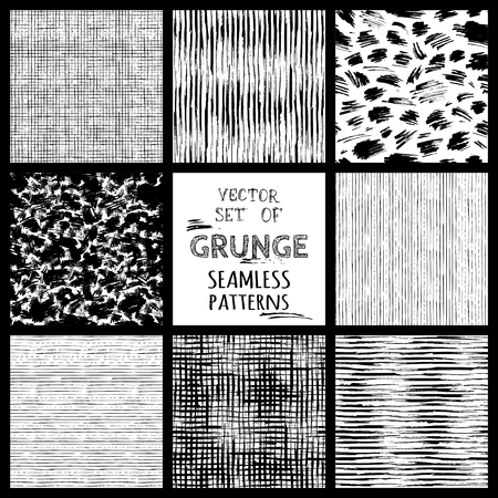 Set of hand-drawn seamless brush strokes patterns. Vector grunge monochrome brush strokes backgrounds. Boundless background can be used for web page backgrounds, wallpapers, wrapping papers.  イラスト・ベクター素材