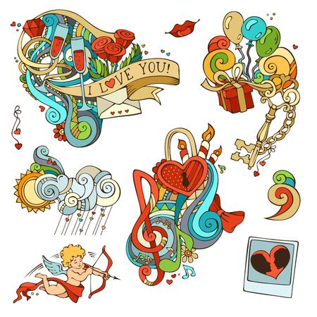 llave de sol: Vector conjunto de elementos rom�nticos de dise�o aislados sobre fondo blanco. Cupido, globos, regalos, notas de la m�sica, nubes, sol, llave y cerradura, cadena, beso, Carta, el lazo, anillo, copa de vino, remolinos.