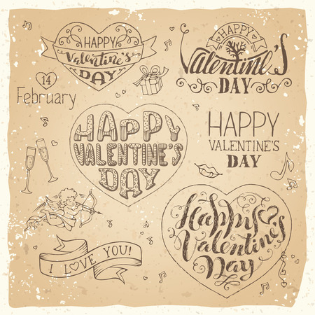 phrases: Happy Valentines Day! Vector set of grunge hand-written love phrases, greetings cards, badges and labels, symbols, typography vector elements. Sketch pencil design elements on old paper background.