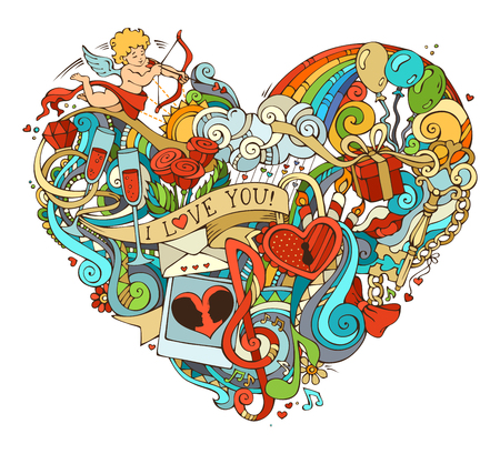 Colourful love poster template with hand-drawn doodles elements. Vector illustration for your romantic background. Cupid, gift, balloons, ring, swirls and ribbons, music notes and others symbols.
