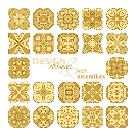thai pattern: Set of square gold geometric ornaments. Design elements and page decorations. Isolated on white background.