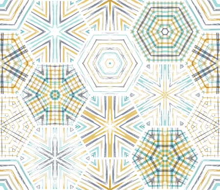 boundless: Seamless ethnic textile hexagons pattern. Vector embroidery horizontal background. Boundless background can be used for web page backgrounds, wallpapers and invitations. Illustration