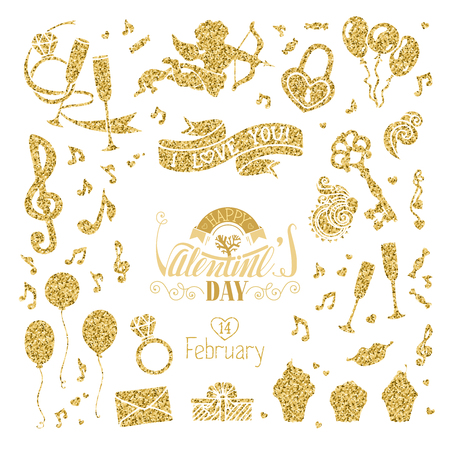 champagne: Vector set of gold signs for Valentines Day design. Cupid, music notes, key and lock, ring, kiss, gift, ribbon, hand-drawn lettering and other objects. Isolated on white background. Illustration