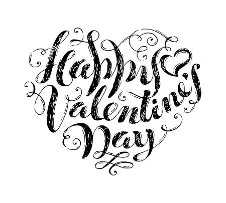 ¡Feliz día de San Valentín! el texto escrito a mano en forma de corazón. letras lápiz grunge boceto aislado en el fondo blanco. adornos de época.
