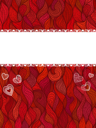 Ornate red background with abstract vertical waves and doodle hearts. There is blank white stripe with lace borders for your text.