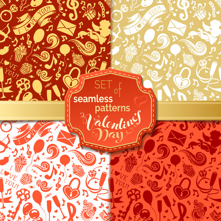 boundless: Vector set of seamless patterns for Valentines Day. Red, gold and white boundless backgrounds for romantic design. Can be used for web page backgrounds, wallpapers, congratulations and invitations.