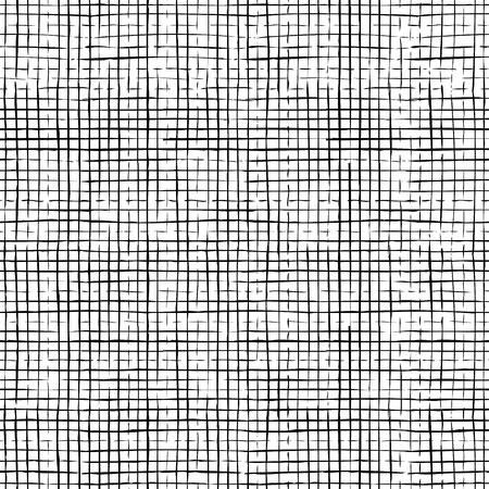 市松模様の薄い鉛筆のストロークのシームレスなパターン。ベクトル手描き黒ブラシは、白い背景に活気づきます。無限の背景は、web ページの背景