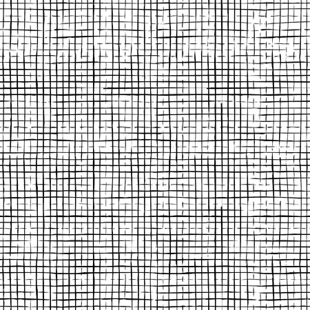 linen: Seamless pattern of checkered thin pencil strokes. Vector hand-drawn black brush flourishes on white background. Boundless background can be used for web page backgrounds, wallpapers and invitations.