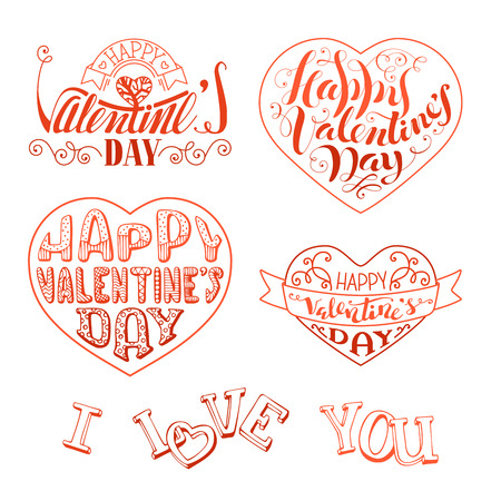 happy valentines day: Happy Valentines Day! Vector set of hand-written linear love phrases, hearts, ribbons and flourishes. Red outlined lettering isolated on white background.