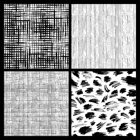 Set of hand-drawn seamless brush strokes patterns. Grunge brush flourishes. Vector black and white grunge textures. Boundless background can be used for web page backgrounds, wallpapers and invitations.