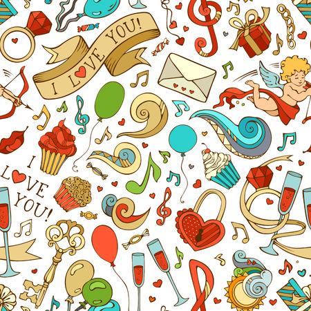 llave de sol: Vector sin patr�n de San Valent�n. Cupido, anillo, magdalenas, remolinos, cintas, notas musicales y otros s�mbolos. Se puede utilizar para fondos de p�ginas web, papeles pintados, papeles de envolver e invitaciones. Vectores