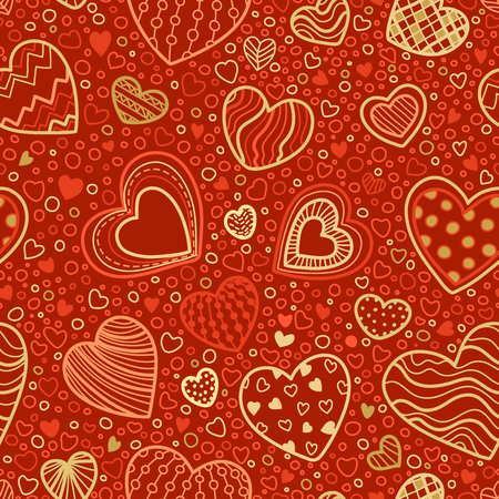 boundless: Seamless red and gold Valentines pattern. Vector hand-drawn hearts on red background. Boundless background can be used for web page backgrounds, wallpapers, congratulations and invitations. Illustration