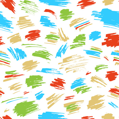 boundless: Vector seamless pattern of colourful strokes. Hand-drawn red, green and blue brush flourishes. Boundless background can be used for web page backgrounds, wallpapers, wrapping papers and invitations.