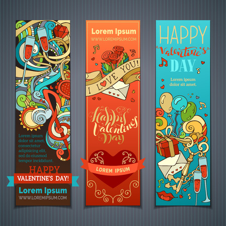Set of vertical Valentines banners. Cupid, hearts, music notes, gift, balloons, ribbon, ring, roses, hand-written lettering. Vector cartoon romantic banners. There is place for your text.