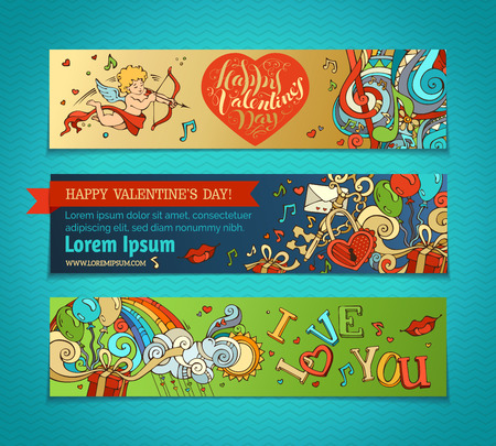 engagement cartoon: Set of horizontal romantic banners. Cupid, hearts, music notes, balloons, rainbow, ribbon, roses, hand-written lettering. Vector cartoon romantic Valentines banners. There is place for your text.