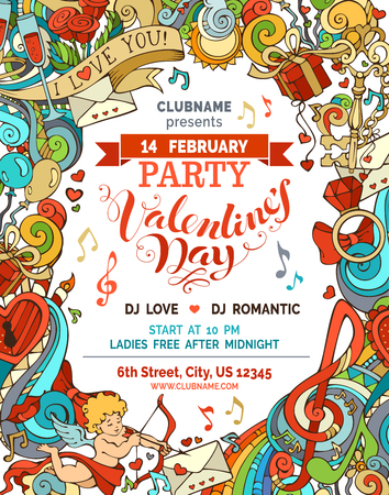 party club: Vector Valentines party invitation template. Love romantic background. Cupid, gift, ring, gold key, swirls and ribbons, music notes and others symbols. There is place for your text in the center.