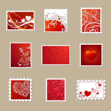 postage stamps: Vector set of Valentines postage stamps. Various horizontal, vertical and square stamps for your romantic design. Ornate hearts, flowers and butterflies, vintage flourishes. Illustration