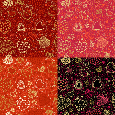 fondness: Vector set of seamless Valentines patterns. Doodles hearts for your design. Boundless background can be used for web page backgrounds, wallpapers, congratulations and invitations.