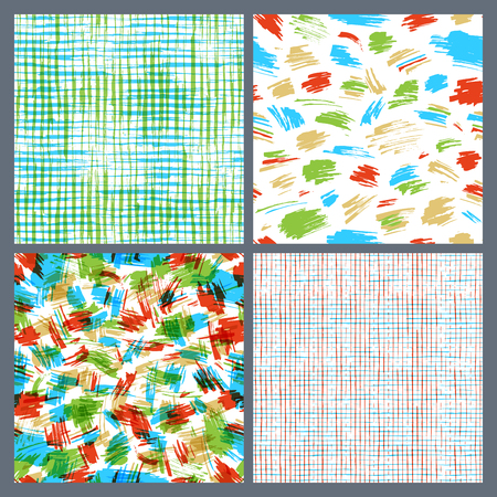 boundless: Set of hand-drawn seamless brush strokes patterns. Vector colourful brush strokes backgrounds. Boundless background can be used for web page backgrounds, wallpapers, wrapping papers.