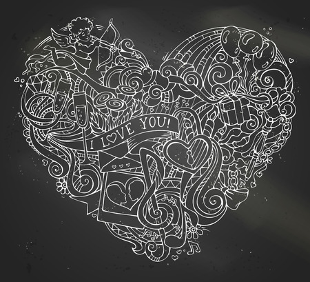 llave de sol: Chalk hand-drawn doodles heart on blackboard background. Poster template. Cupid, gift, balloons, ring, lock and key, swirls and ribbons, music notes, sun, clouds, rainbow, lips and others symbols.