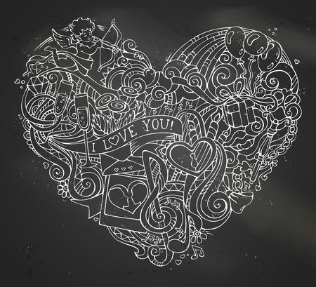 clave sol: Tiza coraz�n garabatos dibujado a mano en el fondo de la pizarra. Modelo del cartel. Cupido, regalo, globos, anillo, cerradura y llave, los remolinos y las cintas, notas de la m�sica, sol, nubes, arco iris, labios y otros s�mbolos. Vectores