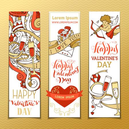 letras de oro: Conjunto de banderas verticales de amor. Cupido, corazones, regalo, globos, cinta, anillo, rosas, las letras escritas a mano. Vector de dibujos animados banderas de San Valentín. No hay lugar para el texto. Vectores