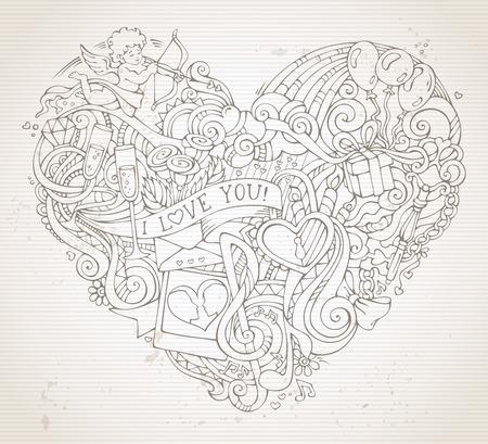 clave sol: fondo garabatos coraz�n a mano de la vendimia en sepia. Cupido, anillo, cerradura y llave, los remolinos y las cintas, globos, sol, nubes y arco iris, notas musicales, beso y otros s�mbolos.