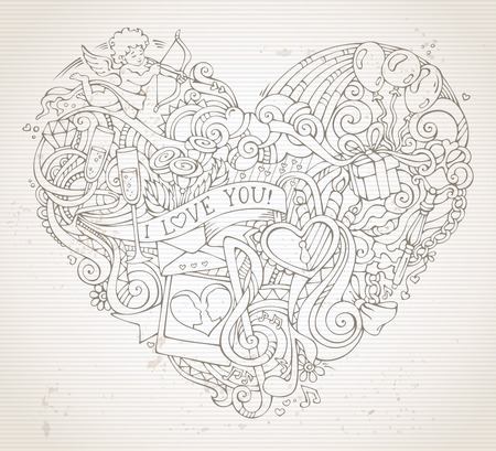 llave de sol: Vintage hand-drawn doodles heart background in sepia. Cupid, ring, lock and key, swirls and ribbons, balloons, sun, clouds and rainbow, music notes, kiss and others symbols. Vectores