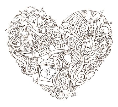 Amore poster modello con doodles elementi disegnati a mano. illustrazione vettoriale per la progettazione romantico. Cupido, anello, serratura e chiave, turbinii e nastri, palloncini e altri simboli.