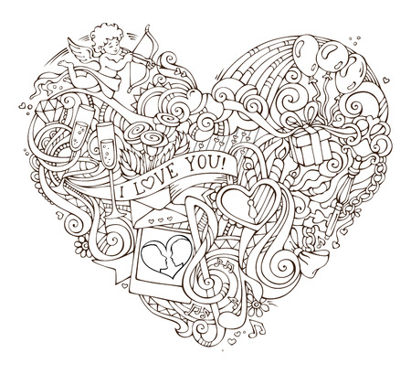 Love poster template with hand-drawn doodles elements. Vector illustration for your romantic design. Cupid, ring, lock and key, swirls and ribbons, balloons and others symbols. Illustration