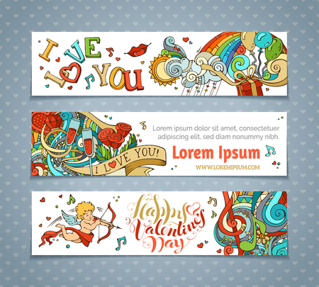 Set of horizontal Valentine's banners. Cupid, hearts, music notes, gift, balloons, rainbow, ribbon, ring, roses, hand-written lettering. Vector cartoon romantic banners. There is place for your text.