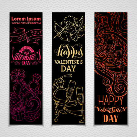 happy web: Happy Valentines Day! Set of vertical colourful love signs and flourishes on black background. Cupid, hearts, gift, balloons, ribbon, ring, hand-written lettering. Vector doodles web templates.